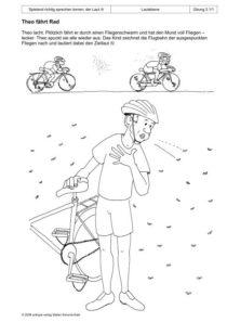 Spielend richtig sprechen lernen: der Laut /t/ Übung 02 - Theo fährt Rad_01