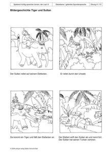 Spielend richtig sprechen lernen: der Laut /t/ Übung 41 - Bildergeschichte Tiger und Sultan_01